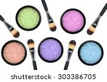 set of 5 eyeshadows and brushes ... | Shutterstock . vector #303386705