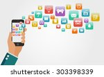 flat vector hand with a phone ... | Shutterstock .eps vector #303398339