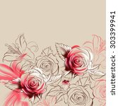 flowers drawn in pencil and... | Shutterstock . vector #303399941