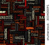 bbq word seamless pattern on... | Shutterstock . vector #303400091