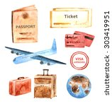 Watercolor Travel  Tourist...