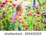 portrait of 1 year old baby boy ...   Shutterstock . vector #303420329
