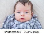 portrait of a 2 months old baby ... | Shutterstock . vector #303421031