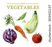 set of watercolor fresh... | Shutterstock . vector #303432137