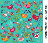 Birds And Butterflies In Flowers