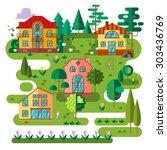 vector flat village landscape.... | Shutterstock .eps vector #303436769