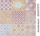 colorful vintage ceramic tiles... | Shutterstock . vector #303437075