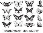vector set of black and white...   Shutterstock .eps vector #303437849