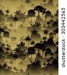 vector tropical rainforest... | Shutterstock .eps vector #303442565