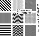 9 seamless striped patterns.... | Shutterstock .eps vector #303444929