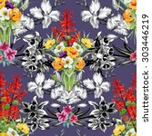 seamless floral pattern on... | Shutterstock . vector #303446219
