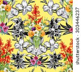 seamless floral pattern on... | Shutterstock . vector #303446237