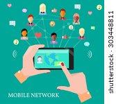 mobile communication technology ... | Shutterstock . vector #303448811