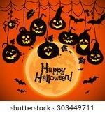 halloween background of... | Shutterstock .eps vector #303449711