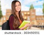 female student  mobile phone ... | Shutterstock . vector #303450551