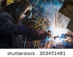 worker with protective mask... | Shutterstock . vector #303451481