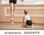 girl beginner watching... | Shutterstock . vector #303459479
