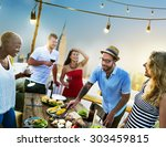diverse summer party rooftop... | Shutterstock . vector #303459815