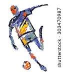 footballer of an abstract image | Shutterstock . vector #303470987