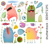 fun cute monsters for kids... | Shutterstock .eps vector #303471191