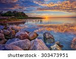 boulders by the edge  | Shutterstock . vector #303473951
