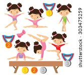 gymnastics vector illustration | Shutterstock .eps vector #303475259