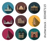 9 flat landmark icons | Shutterstock .eps vector #303487115