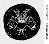 samurai helmet doodle | Shutterstock . vector #303488279