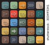 arrow line flat icons with long ... | Shutterstock .eps vector #303495341