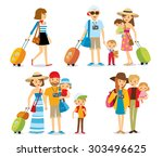people with kids travelling on... | Shutterstock .eps vector #303496625
