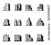 building icons set vector... | Shutterstock .eps vector #303500807