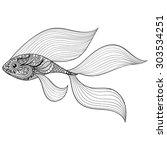 Zentangle Stylized Gold Fish....