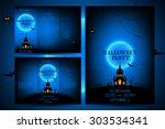 set of flyers for halloween... | Shutterstock .eps vector #303534341