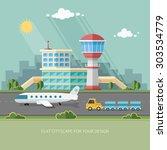 airport landscape. travel... | Shutterstock .eps vector #303534779
