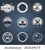 gun shop logotypes and badges  | Shutterstock .eps vector #303539075