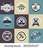 gun shop logotypes and badges  | Shutterstock .eps vector #303539147
