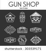 gun shop logotypes and badges    Shutterstock .eps vector #303539171