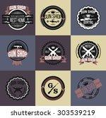 gun shop logotypes and badges  | Shutterstock .eps vector #303539219