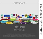 cityscape graphic template.... | Shutterstock .eps vector #303543704