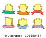 freehand label and ribbons | Shutterstock .eps vector #303550457