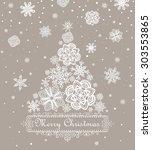 retro paper xmas greeting... | Shutterstock . vector #303553865