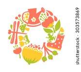 vector illustration of summer... | Shutterstock .eps vector #303573869