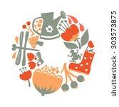 vector illustration of summer... | Shutterstock .eps vector #303573875