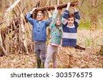 Children Building Camp In...