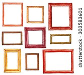 watercolor wooden picture frame.... | Shutterstock . vector #303583601