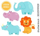 african animals set isolated on ... | Shutterstock .eps vector #303599909