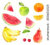 watercolor fruit set banana ... | Shutterstock . vector #303601025