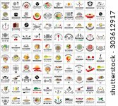 restaurant flat icons set ... | Shutterstock .eps vector #303612917