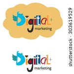digital marketing word concept. ... | Shutterstock .eps vector #303619529