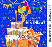 birthday card. celebration blue ... | Shutterstock .eps vector #303627149